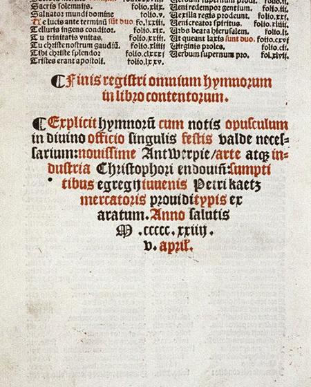 Kolofon złożony w cul-de-lampe (druk, XVI w.)
